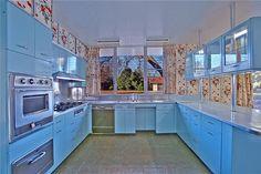 Mid Century light blue kitchen