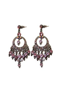 "Stunning art-deco chandelier earrings featuring mauve rhinestones on blackened silver-tone metal. Beautiful for a special occasion!  Measures 2.5"" long  Mauve Art-Deco Earrings by Carte Blanche. Accessories - Jewelry - Earrings Vancouver Canada"
