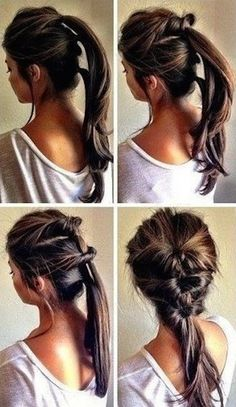 Thread together 3 ponytails. | 21 Hairstyles You Can Do In Less Than 5 Minutes