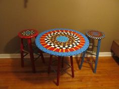 Hand painted Bar stools and table by Everything2me on Etsy, $250.00