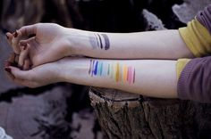 ~ I love the look of brushstroke tattoos, regardless of what type of paint they resemble
