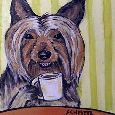 Australian Silky Terrier at the Coffee Shop Dog Art Print JSCHMETZ modern abstract folk pop art gift Colorful Seahorse, Cafe Pictures, Australian Terrier, Silky Terrier, Dog Signs, Tile Art, Tiles, Terrier Dogs, Print Artist