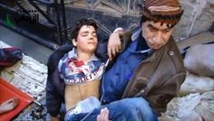 His guilt was trying to buy some bread!!  The treacherous warplanes target bakeries constatnly. In Syria, hunger is considered a crime that deserves killing.  Rescuing and evacuating injured people due to a bakery shelling in Zabadani-Damascus suburbs  Decemeber 10, 2012