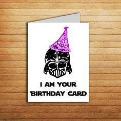 Star Wars Birthday Card Printable Darth Vader #dad #daughter #son #darthvader #iamyour #father#cute #handdrawn #nerdy #geeky #darkside #starwars #fan #party #galaxy #30th #birthdaycard