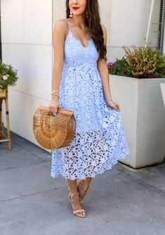 Blue Lace Midi Dress for Summer