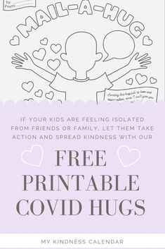 With this free printable coloring sheet and card, kids can send a hug in the mail to someone they are missing during A great activity for kids during home-schooling and at home learning to promote kindness, gratitude and social emotional learning. Kindness Projects, Kindness Activities, Craft Activities For Kids, Crafts For Kids, Kindergarten Activities, Preschool, Easter Coloring Pages, Coloring Pages For Kids, Free Coloring