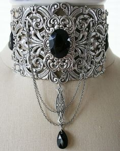Sterling Silver Onyx Collar Necklace. I would have skipped the chains.