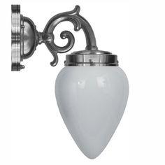 Topelius 80 förnicklad med opalvit droppskärm (badrumslampa)