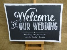 PERSONALISED vintage chalkboard style WELCOME TO OUR WEDDING sign A3 OR A4 | eBay