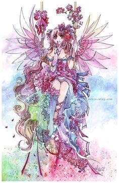 Rainbow Fairy anime manga kawaii angel sweet lolita art by schin, $25.00