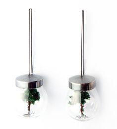 Simeon Shomov. Earrings: Ecology. Silver 950, glass. Length: 55mm.