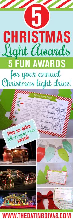 5 adorable awards for your traditional Christmas Light Drive. What a fun addition to a Christmas tradition! www.TheDatingDivas.com