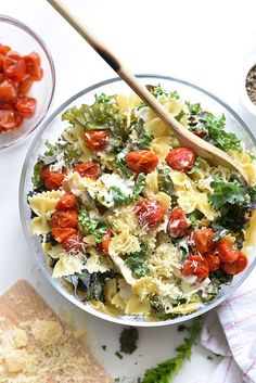 Kale Caesar Pasta Salad - foodiecrush