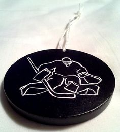 goalie hockey puck christmas ornament wooden by maineweddingartist