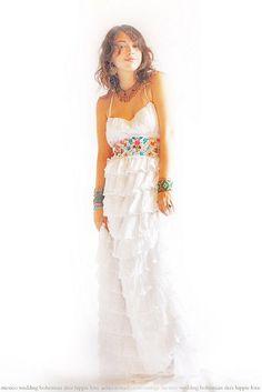 Las Olas Mexican ruffled handmade wedding dress
