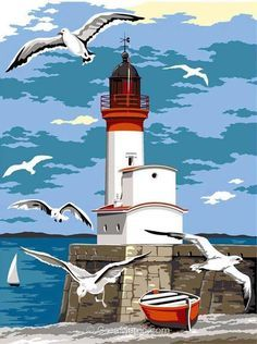The Royal Gallery of Needlepoint Tapestries - Seaside -> Le Treport Pictures To Paint, Art Pictures, Lighthouse Painting, Lighthouse Pictures, Beginner Painting, Beach Art, Artist Painting, Painting Inspiration, Landscape Paintings