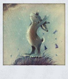 Illustration -white bunny in the rain Illustration Mignonne, Children's Book Illustration, Lapin Art, Art Fantaisiste, Art Mignon, Rabbit Art, Bunny Art, Inspiration Art, Whimsical Art