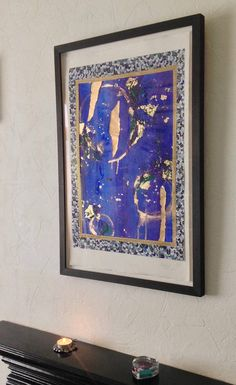 Blue-gold abstract acrylic painting  Mixed media  Inspired
