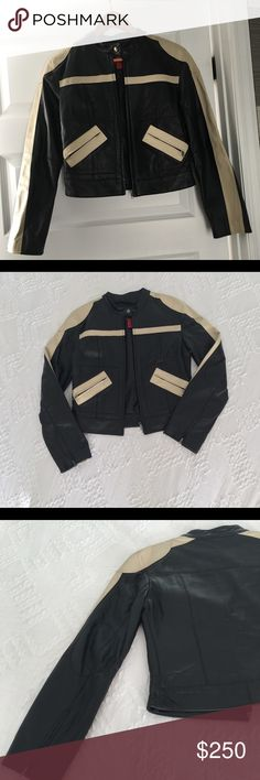 Rare vintage leather jacket 60s motorcycle jacket Cool hip vintage 60s jacket. Rare dark brown with striped cream color sepia, no refunds. Fits size small, vintage genuine leather! From a pet free smoke free house no damages! Two pockets zips, zippers on the sleeve and pleaded elbows! Jackets & Coats