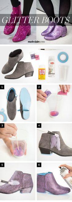DIY Saint Laurent Glitter Boots - How to Make Glittery Shoes - Marie Claire #GlitterDIY