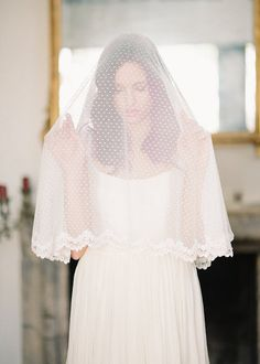 Garter Girl Loves: This Swiss dot, lace trimmed elbow length veil