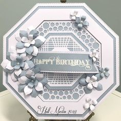 Love the octagon and live my - great combination for an elegant card! Homemade Birthday Cards, Homemade Christmas Cards, Bird Cards, Butterfly Cards, Hexagon Cards, Card Making Techniques, Card Making Inspiration, Card Maker, Cardmaking
