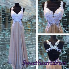 prom 2015, sweetheart neckline straps backless chiffon prom dress for teens, ball gown, evening dress #prom2015 #cutedress -> http://sweetheartdress.storenvy.com/products/13279671-cute-white-lace-cross-back-a-line-long-prom-dress-sweetheart-handmade-dress