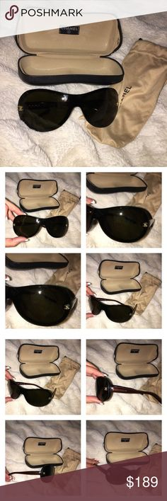 Chanel Brown & Gold Sunglasses Chanel Brown & Gold Sunglasses with cloth case and hardshell case. There are some scratches on the lenses and pricing will reflect the imperfections. CHANEL Accessories Sunglasses