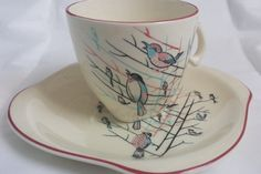 Vintage 1950's Teacup and saucer rare Dawn by Prettyvintagehouse