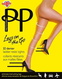 4f00f603488 Pretty Polly Legs on The Go Light Compression Run Resist Tights 10 Denier