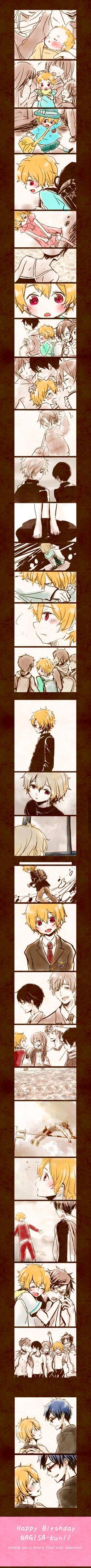 "Free! ~~ ""Happy Birthday, Nagisa-kun!"" :: Artist unknown but terribly awesome!"