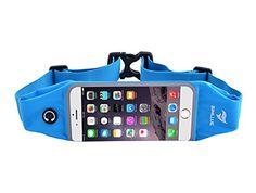 Waterproof Running Waist Belt Pouch Case Fits Large Smartphones- Sweatproof Workout Belt Waist Bag - Expandable Runners Waist Belt Bag with Clear Touchscreen (Sky Blue, 4.7)