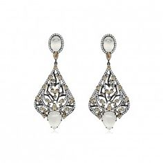 """""""Sutra Moonstone Earrings White Gold Earrings finished in Black Rhodium and featuring Moonstone and Diamonds"""" (quote) By Annoushka Designed by Arpita Navlakha Moonstone Earrings, Drop Earrings, Gold Earrings, Diamond Quotes, Fine Jewelry, Women Jewelry, Jewellery, Annoushka, Black Rhodium"""