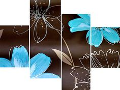 Brown Teal Flowers Abstract Canvas Pictures Wall Art Split Multi 4 Panel Set in Art, Canvas/ Giclee Prints | eBay