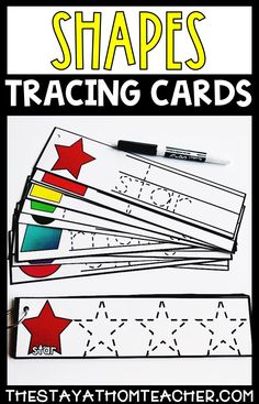 Combine fine motors skills, handwriting practice and common preschool skills with these dry erasable shape tracing cards. #preschool #handwriting