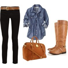 Outfit black skinnies, chambray, cognac boots
