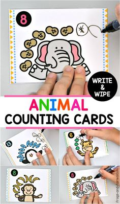Looking for a playful way to practice counting? These Animal Counting Cards will help your kids to practice counting and beginning addition! Math Activities For Toddlers, Carnival Activities, Addition Activities, Printable Activities For Kids, Counting Activities, Numbers For Kids, Creative Teaching, Teaching Math, Fun Learning