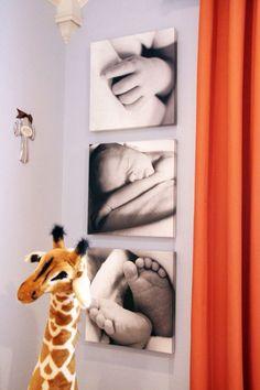 Que tal pegar aquelas fotos especiais e transforma-las em quadros decorativos para o quarto do seu bebê? Fica lindo!