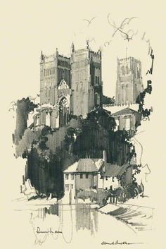 Sketch Book A pencil Drawing of Durham Cathedral by Claude Buckle Landscape Sketch, Landscape Drawings, Architecture Drawings, Abstract Landscape, Landscape Paintings, Drawing Sketches, Pencil Drawings, Art Drawings, Fine Art Drawing