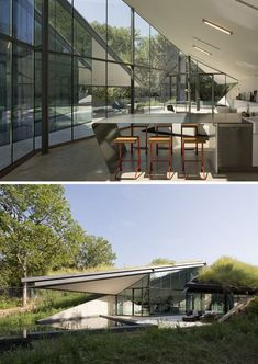 semi underground interior spaces