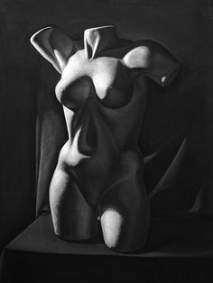 Torso, Charcoal on paper, 100 x 70 cm. Realistic charcoal drawing by Liu Ling from Art Is http://artis.sg - #realism