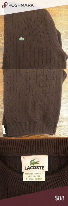 Lacoste cable knit pullover L Lacoste pullover In brown Cable knit  Crew neck Lacoste Sweaters Crewneck