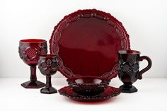 Avon Cape Cod Red Glass Dishes, 1 place setting. What a lovely shade of Ruby Red!