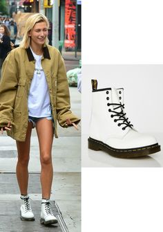 11c485a2004 Shoe Obsession  Hailey Baldwin s White Doc Martens – Angel City Style