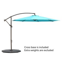 Le Papillon 10 Ft Offset Hanging Patio Umbrella Aluminum Outdoor Cantilever  Umbrella Crank Lift, Blue