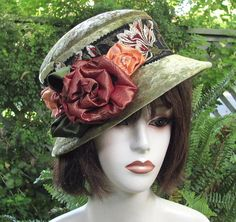 Vintage Style Green Velvet Cloche Hat by Vintage Style Hats by Gail, via Flickr