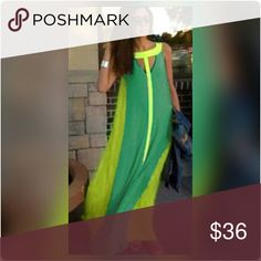 NWT * Maxi Dress BUNDLE & SAVE  Flowy, modern maxi dress Green, chartreuse & yellow, perfect for the beach, lake, pool party Fits L or XL  beach coverup, Hamptons, lake Dresses Maxi