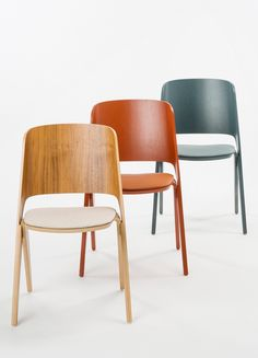 Poiat presented new copper orange and gray teal colours for their Lavitta chairs, plus the option to add upholstered seats.