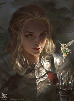 An elf knight discusses tactics with her tiny fairy spy. - 奇遇, Qichao Wang