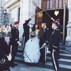 Military I do inspiration with the groom and groomsmen in their dress blues and the stunning bride in an Oleg Cassini strapless ruffled ball gown available at David's Bridal Bridal Lace, Bridal Gowns, Ceremony Dresses, Wedding Dresses, Diy Wedding Planner, Military Weddings, Dress Blues, Wedding Inspiration, Wedding Ideas